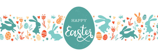 ilustrações de stock, clip art, desenhos animados e ícones de cute hand drawn easter bunnies design, easter doodle background, great for textiles, banners, wallpapers, wrapping - vector design - easter