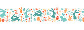 istock Cute hand drawn easter bunnies horizontal seamless pattern, easter doodle background, great for textiles, banners, wallpapers, wrapping - vector design 1204406395