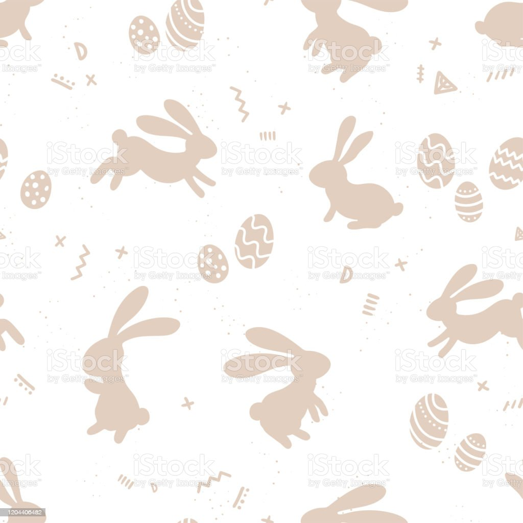 Cute Hand Drawn Easter Bunnies Seamless Pattern Easter Doodle