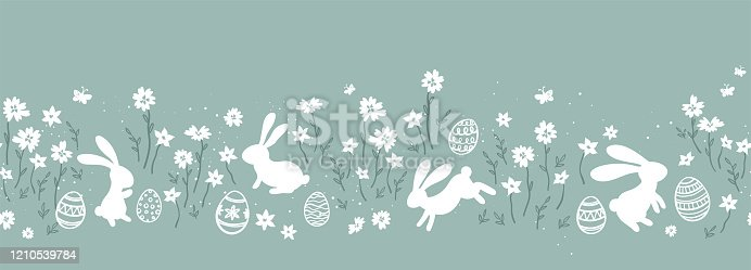 istock Cute hand drawn easter eggs horizontal seamless pattern, fun easter decoration, great for banners, wallpapers, cards - vector design 1210539784