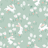 Cute hand drawn Easter seamless pattern with bunnies, Easter eggs and flowers. Great for Easter Cards, banner, wallpaper, textiles, wrapping- vector design