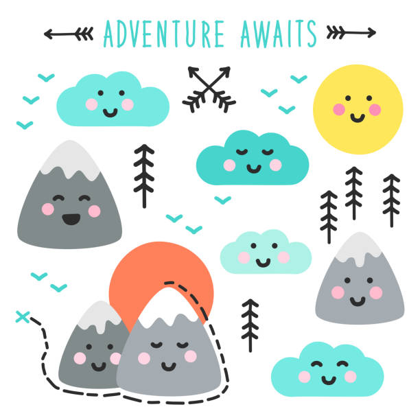Cute hand drawn elements with Kawaii Mountains landscape vector art illustration
