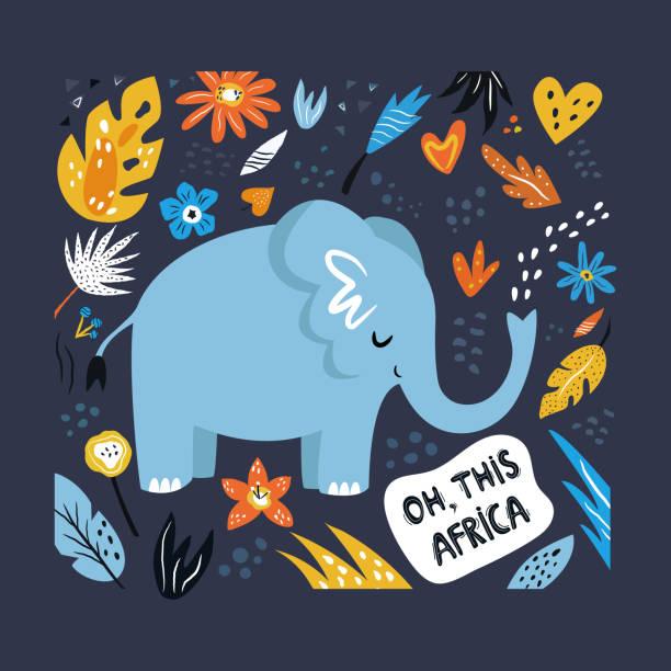 装飾的な花の要素を持つかわいい手描きの象のキャラクター。トラベルグリーティングカード、プリント t シャツ - 野生動物旅行点のイラスト素材/クリップアート素材/マンガ素材/アイコン素材