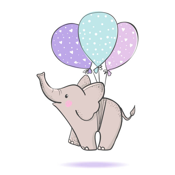 cute hand drawn elephant flying on balloons. - elephant stock illustrations
