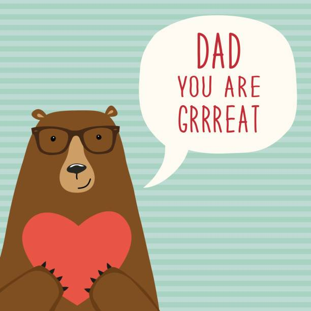 Carte de fête des pères mignons dessinés à la main comme personnage de dessin animé drôle d'ours - Illustration vectorielle