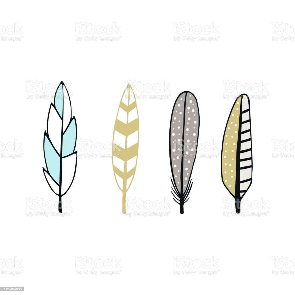 Cute hand drawn feather collection in scandinavian style. Kids vector illustration vector art illustration
