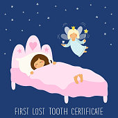Cute hand drawn First Lost Tooth Certificate as sleeping kid and funny smiling cartoon character of tooth fairy