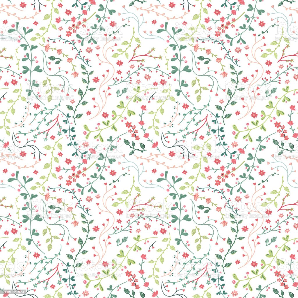 かわいい手描き花のシームレスなパターン楽しいスケッチの枝や花の背景