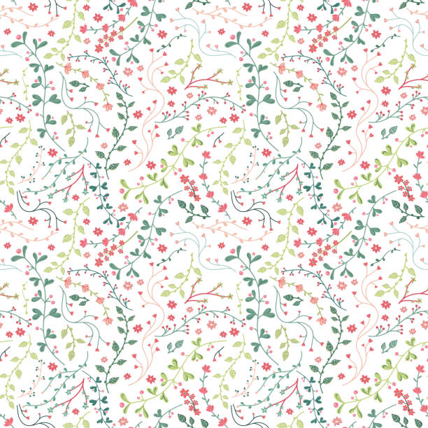 Cute hand drawn floral seamless pattern, fun sketch branches and flowers background - great for seasonal summer or fall fashion prints, backdrops, wallpapers, wrapping paper, decoration, textiles vector art illustration