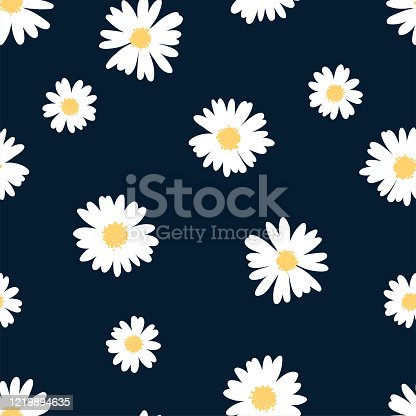 istock Cute hand drawn floral seamless pattern, lovely flower meadow background, great for spring or summer textiles, banners, wallpaper, wrapping - vector design 1219894635