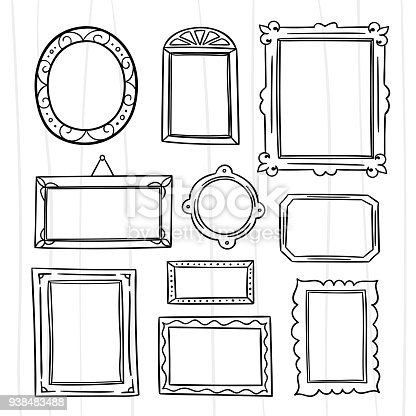 Cute Hand Drawn Frames Vector Set Graphic Design Outline Frame ...