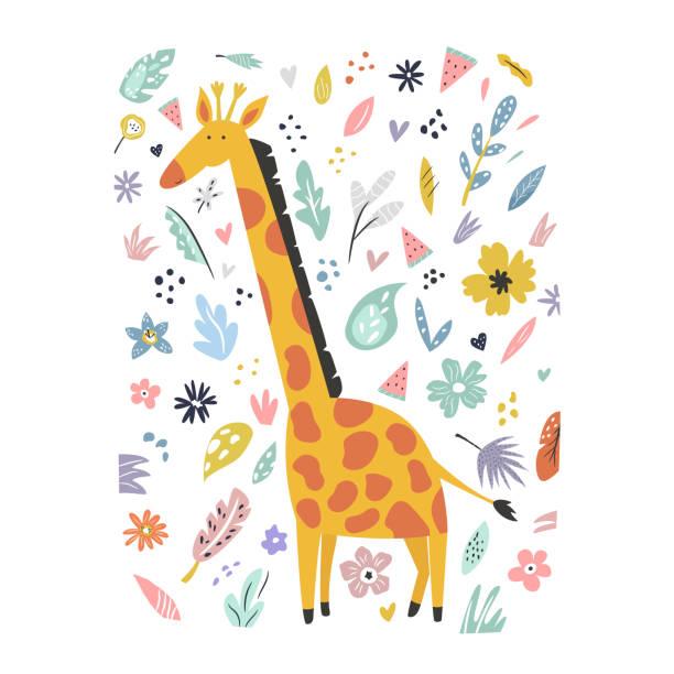 装飾的な花の要素を持つかわいい手描きのキリンのキャラクター。トラベルグリーティングカード、プリント t シャツ - 野生動物旅行点のイラスト素材/クリップアート素材/マンガ素材/アイコン素材
