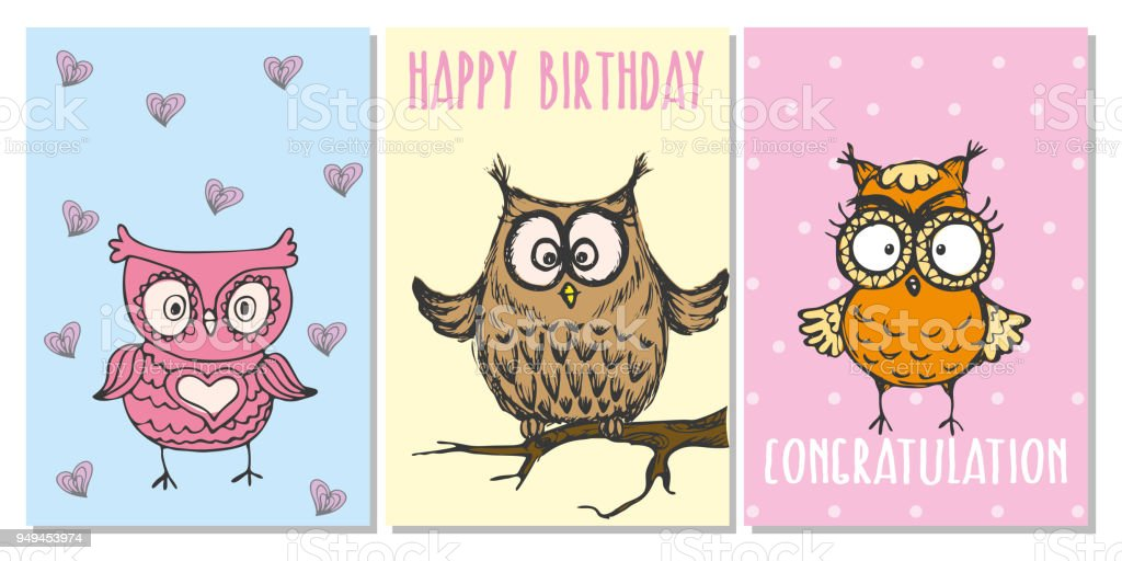 Cute hand drawn greeting cards with owls stock vector art more cute hand drawn greeting cards with owls royalty free cute hand drawn greeting cards with m4hsunfo