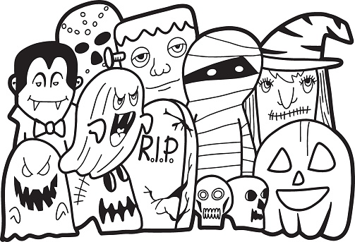 Cute hand drawn halloween doodles, illustration