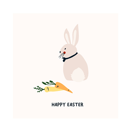 Cute hand drawn happy Easter card with rabbit and carrots. Cozy hygge scandinavian style template for postcard, poster, greeting card, kids t shirt design. Vector illustration in flat cartoon style