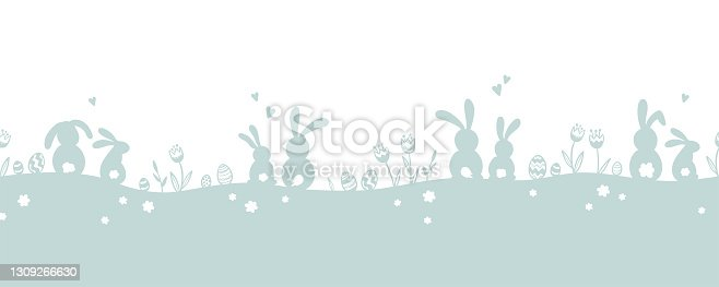 istock Cute hand drawn horizontal seamless Easter design, silhouette design with bunnies, eggs and flowers, great for web banners, wallpapers, cards - vector design 1309266630