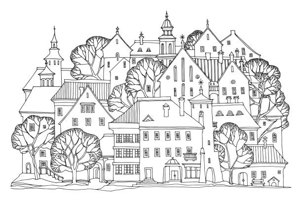 Cute hand drawn houses with windows Cute hand drawn houses with windows, doodle housing, vector illustration lithuania stock illustrations