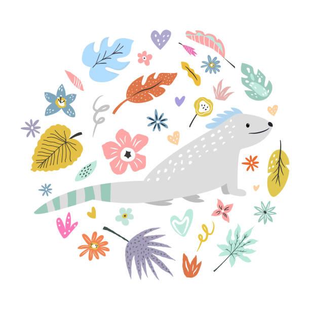 装飾的な花の要素を持つかわいい手描きイグアナの文字。トラベルグリーティングカード、プリント t シャツ - 野生動物旅行点のイラスト素材/クリップアート素材/マンガ素材/アイコン素材