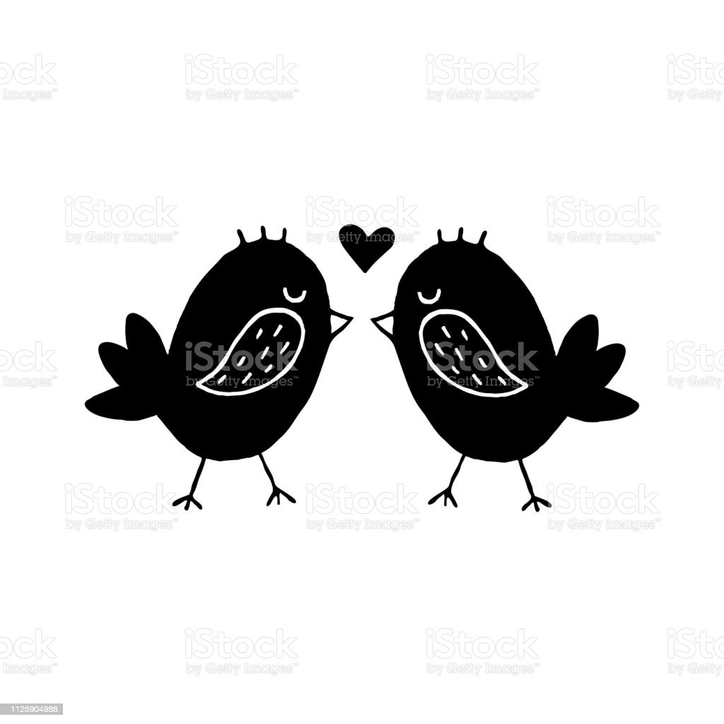Cute cartoon hand drawn birds kissing icon. Sweet vector black and...