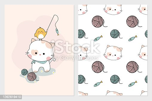 istock Cute hand drawn kitty and chick with seamless illustrator vector pattern set, 1262619410