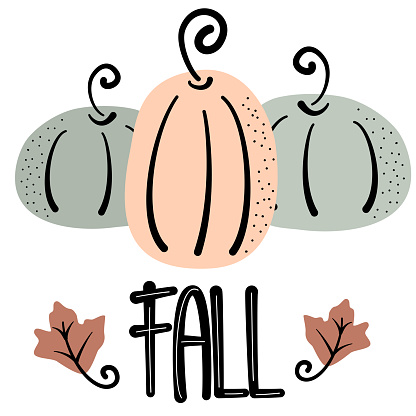 Cute hand drawn lettering fall vector card illustrationwith pumpkin and leaves