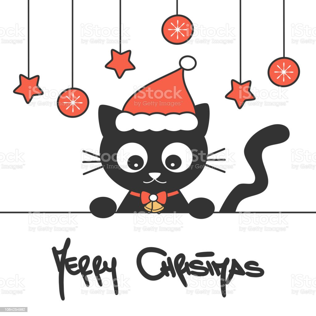 cute hand drawn lettering merry christmas vector card with cartoon baby black cat with santa hat vector art illustration