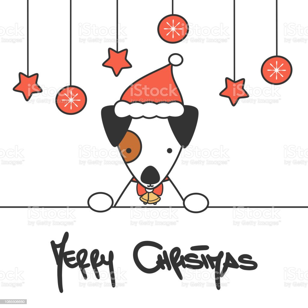 cute hand drawn lettering merry christmas vector card with cartoon baby dog with santa hat vector art illustration