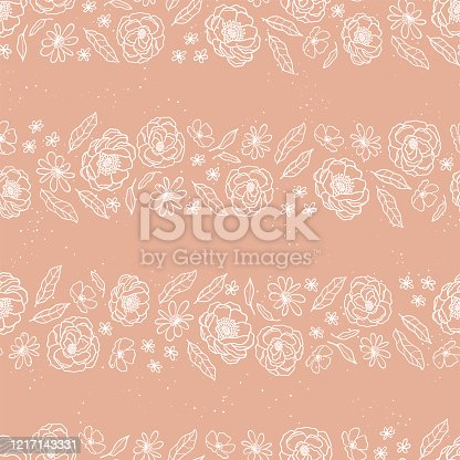Cute hand drawn lineart flowers seamless pattern, floral background, great for spring and summer themes, Mother's Day, Valentine's Day, fabrics, wrapping, banners, wallpapers - vector design