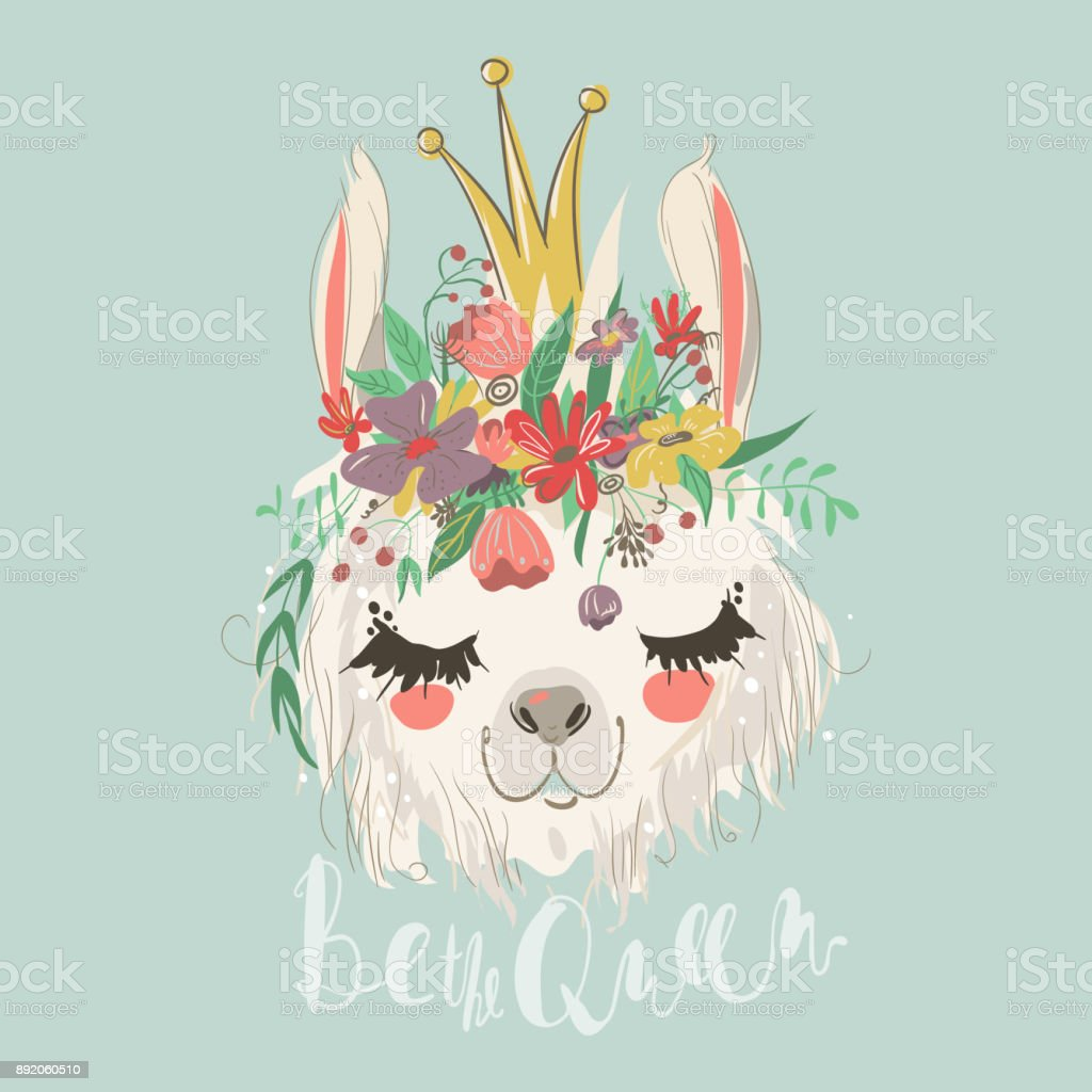 Cute hand drawn llama with flowers wreath and beautiful crown