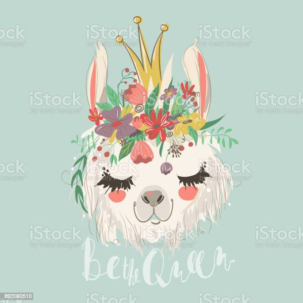 Cute hand drawn llama with flowers wreath and beautiful crown vector id892060510?b=1&k=6&m=892060510&s=612x612&h=6kjdm9sqida h3durefclr53tiadfr2abx91om wtkq=