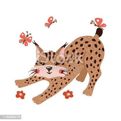 Cute hand drawn lynx with butterflies isolated on white background. Forest animal. Vector illustration.