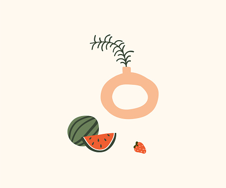Cute hand drawn modern vase with green leaf, watermelon and strawberry. Cozy hygge scandinavian style template for postcard, poster, greeting card, kids t shirt design. Vector illustration in flat cartoon style