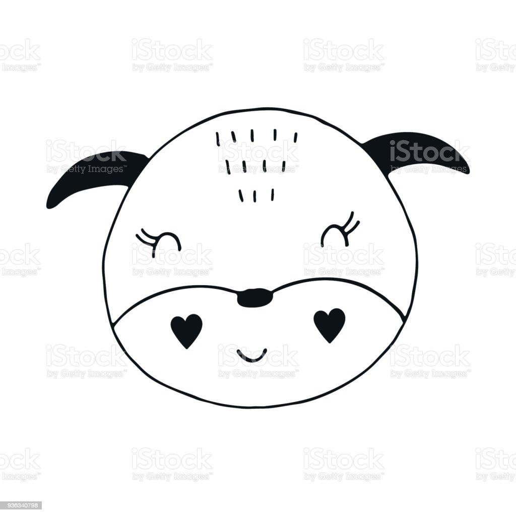 かわいい手描き下ろし保育園ポスター北欧風の動物キャラクターモノクロの