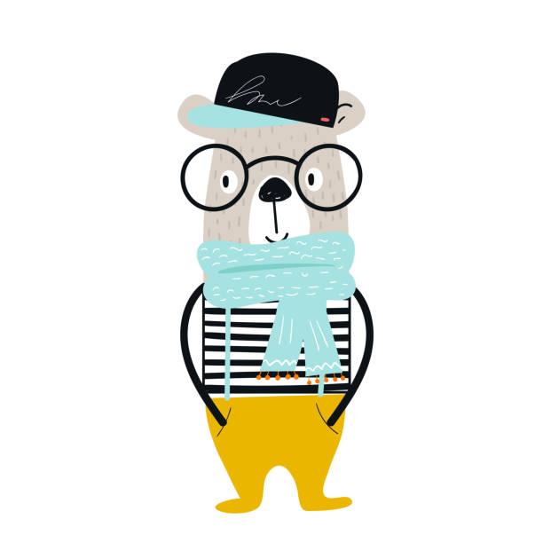 Cartel con dibujos animados de animales oso cool con lentes y chaleco en mano lindo exhausto viveros. - ilustración de arte vectorial