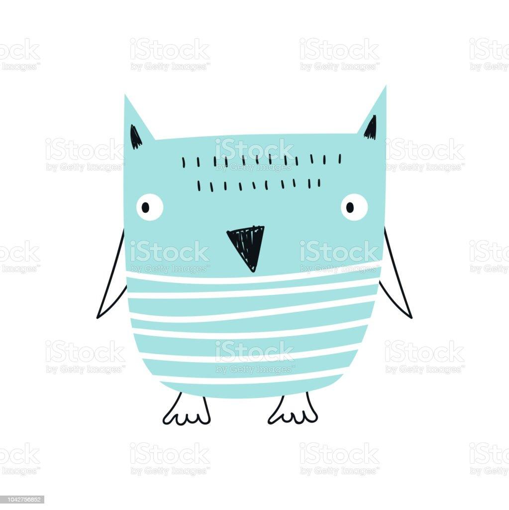 Süße Handgemalte Kinderzimmer Poster Mit Coolen Blauen Eule ...