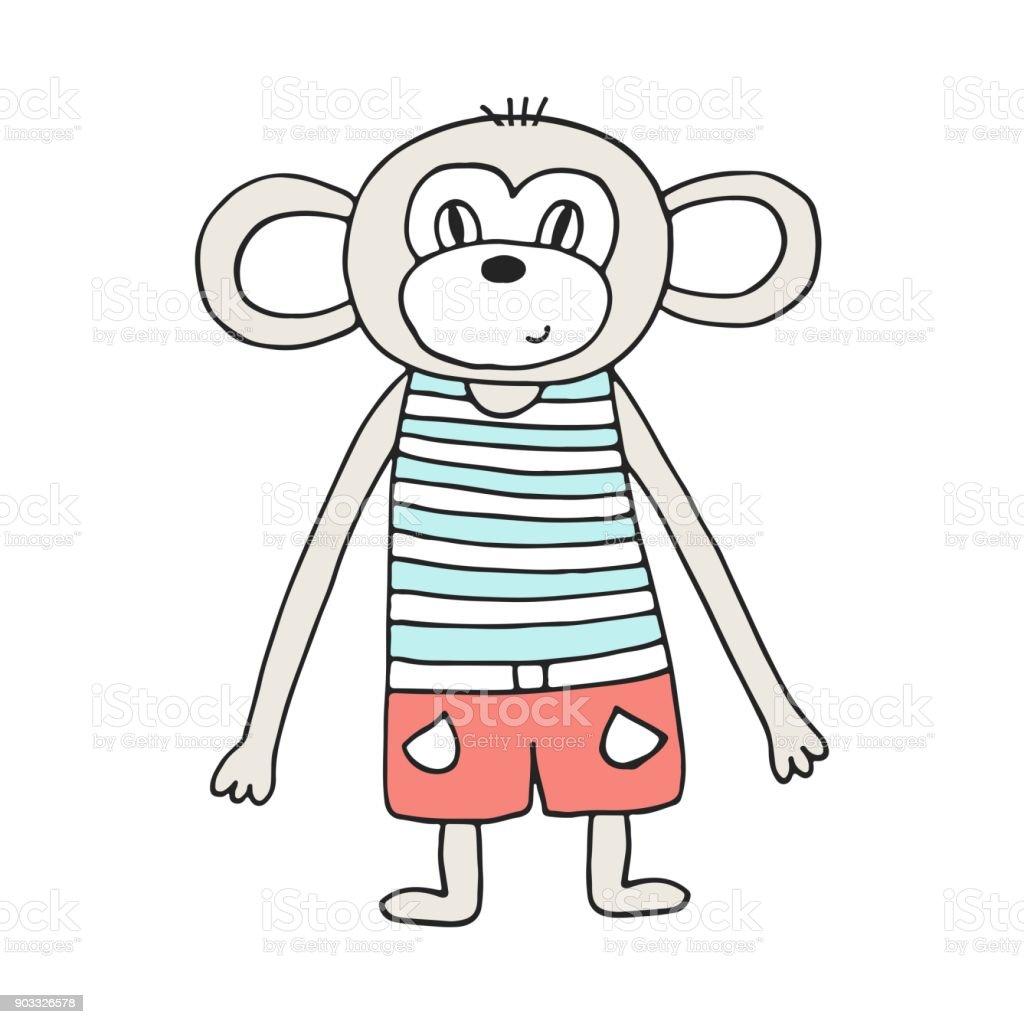 Niedliche Hand Gezeichnete Kinderzimmer Poster Mit Affen Im Skandinavischen Stil Farbe Vektor Illustration