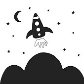 Cute hand drawn nursery poster with space rocket in scandinavian style. Monochrome vector illustration.