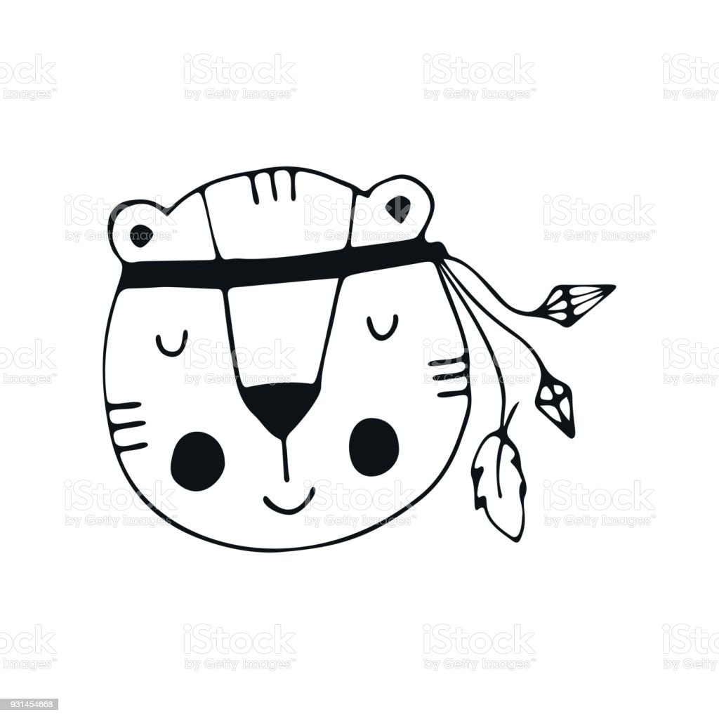 Cute hand drawn nursery poster with tiger character in scandinavian style. vector art illustration