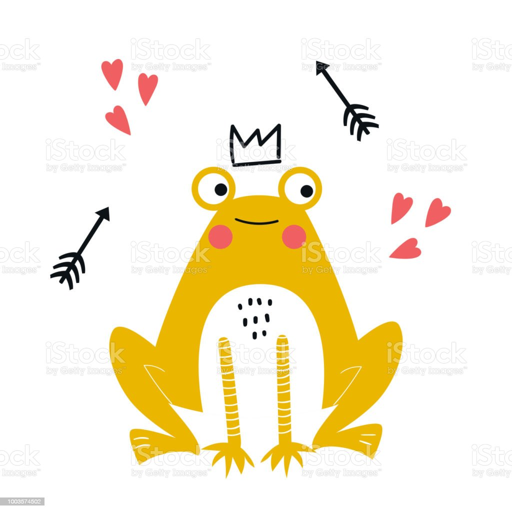 Cute hand drawn nursery poster with yellow frog animal in crown with arrows. Vector illustration in candinavian style vector art illustration