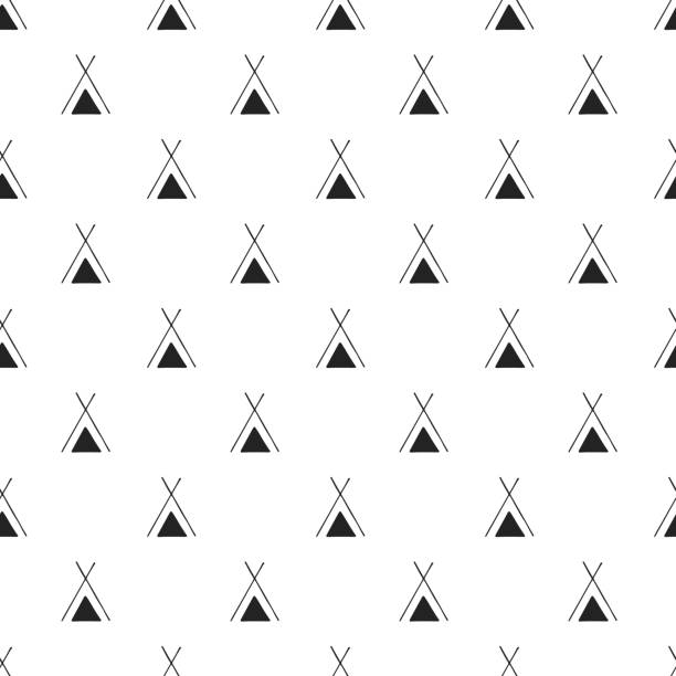 Cute hand drawn nursery seamless pattern with wigwam in scandinavian style. Vector illustration Cute hand drawn nursery seamless pattern with wigwam in scandinavian style. Vector illustration. teepee stock illustrations