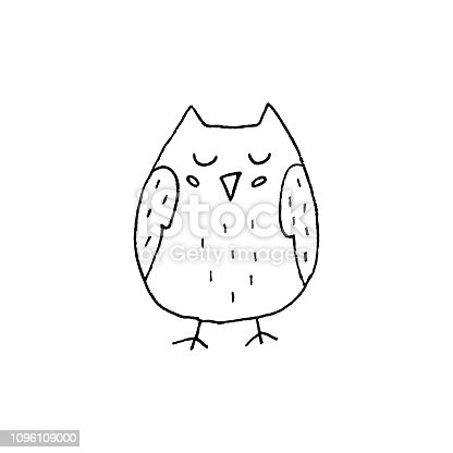 Cute cartoon hand drawn owl illustration. Sweet vector black and white owl illustration. Isolated monochrome doodle owl illustration on white background.