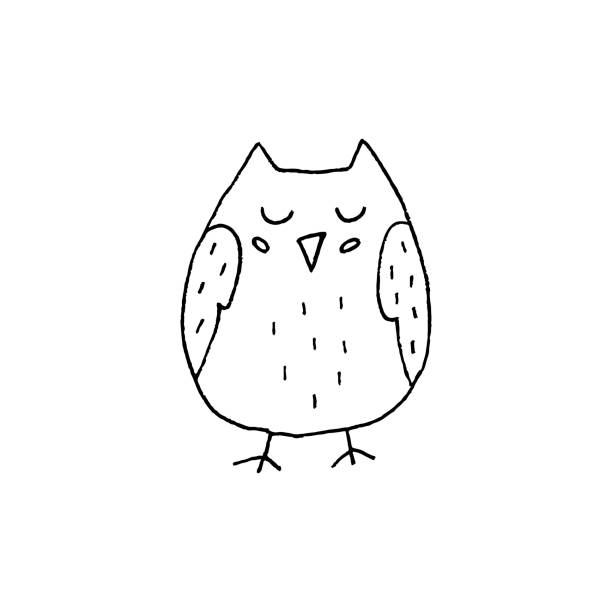 cute hand drawn owl vector illustration - black and white owl stock illustrations, clip art, cartoons, & icons