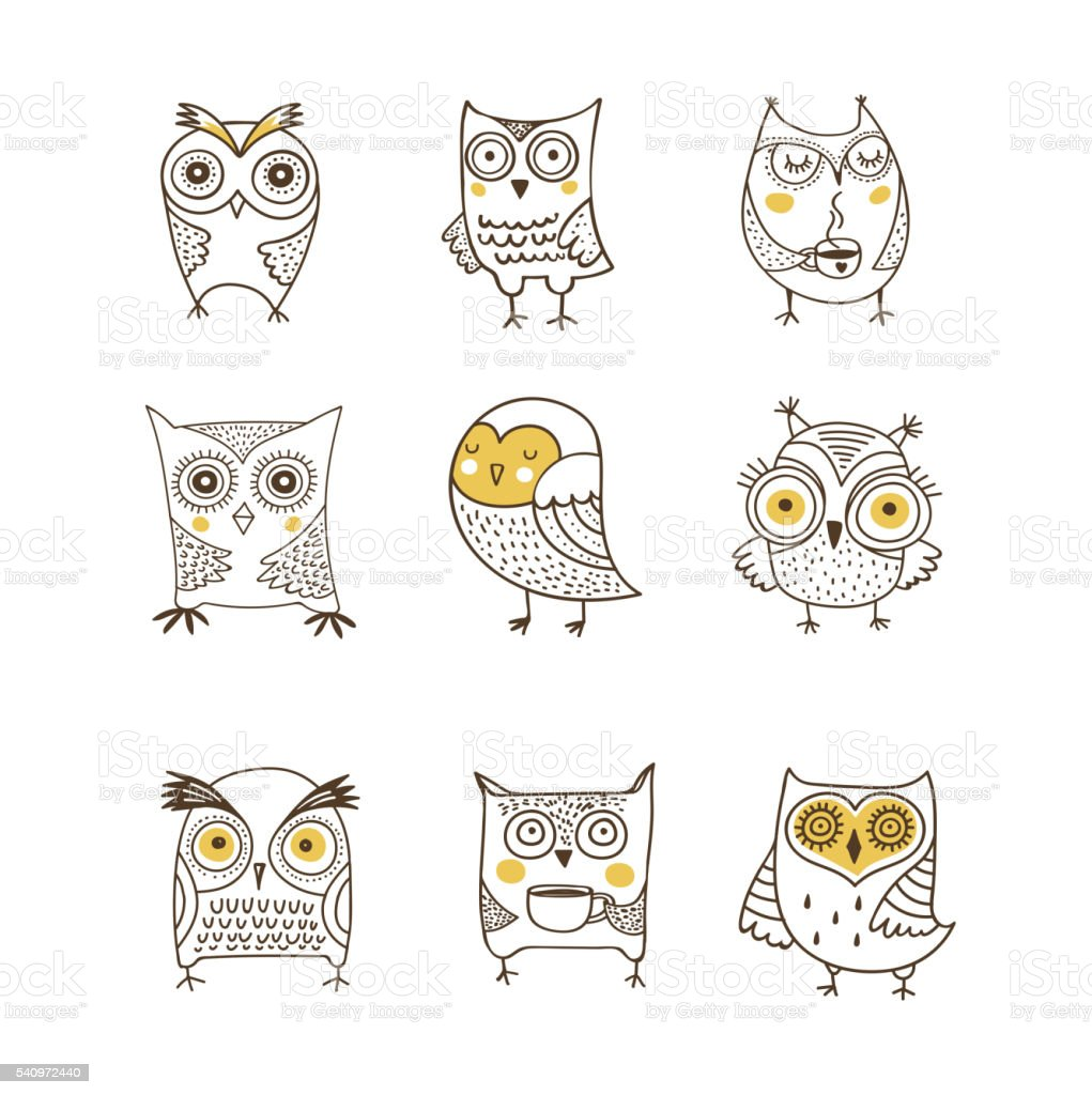 Lindo, dibujado a mano, ilustraciones vectoriales acuarela búho - ilustración de arte vectorial