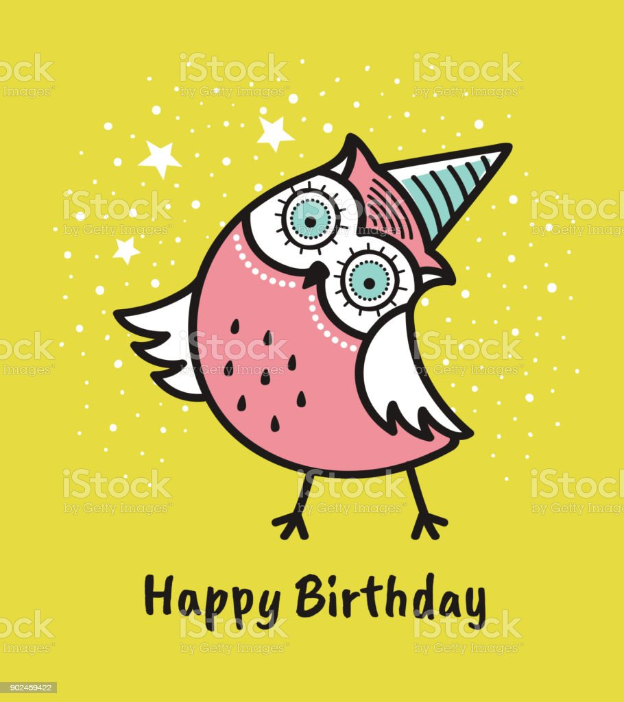 Cute Hand Drawn Owl With Quote Happy Birthday Greeting Card Stock