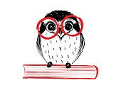 Cute hand drawn owl with red glass sitting on book