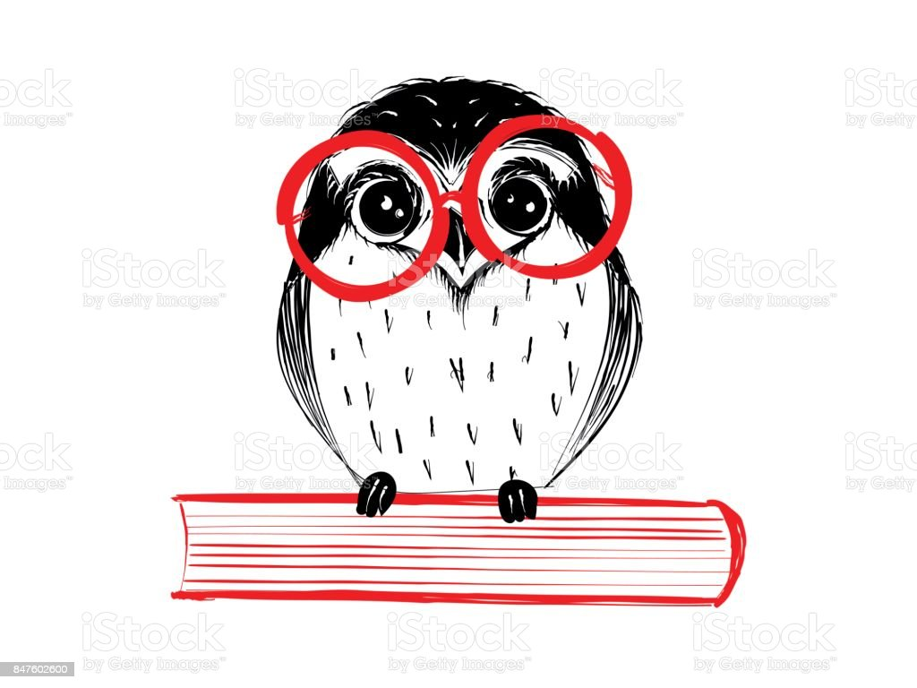Cute hand drawn owl with red glass sitting on book vector art illustration