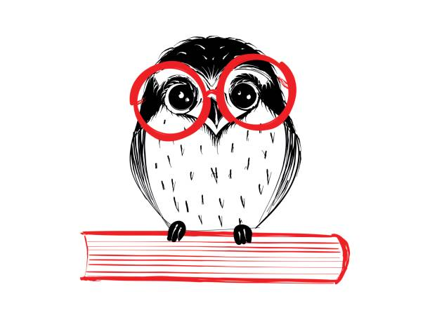 cute hand drawn owl with red glass sitting on book - sowa stock illustrations