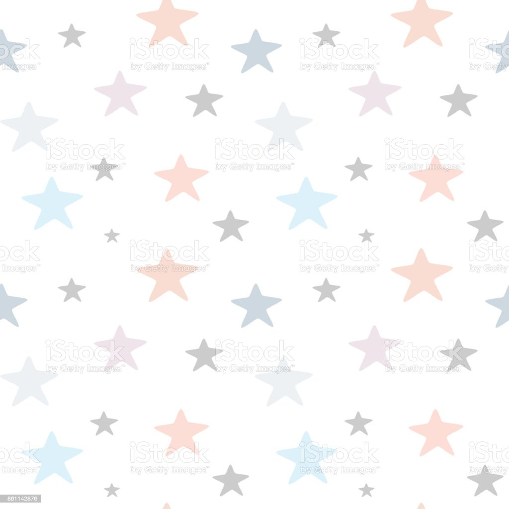 かわいい手描きパステル星シームレスなベクトル パターン背景イラスト