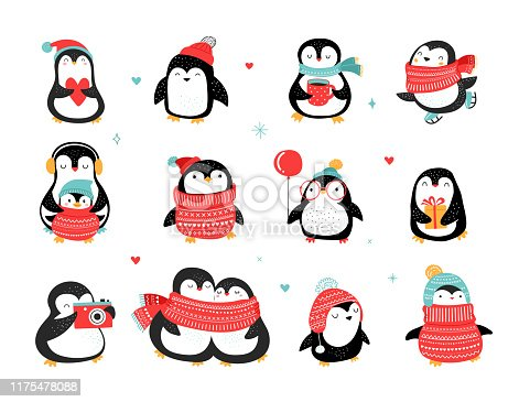 istock Cute hand drawn penguins collection, Merry Christmas greetings. Vector illustration 1175478088
