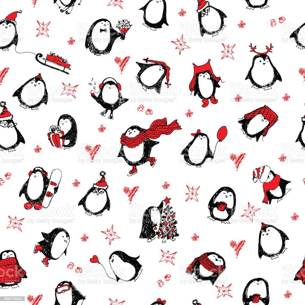 Ilustración de Patron Para Pingüinos Dibujados A Mano Lindo y más ...